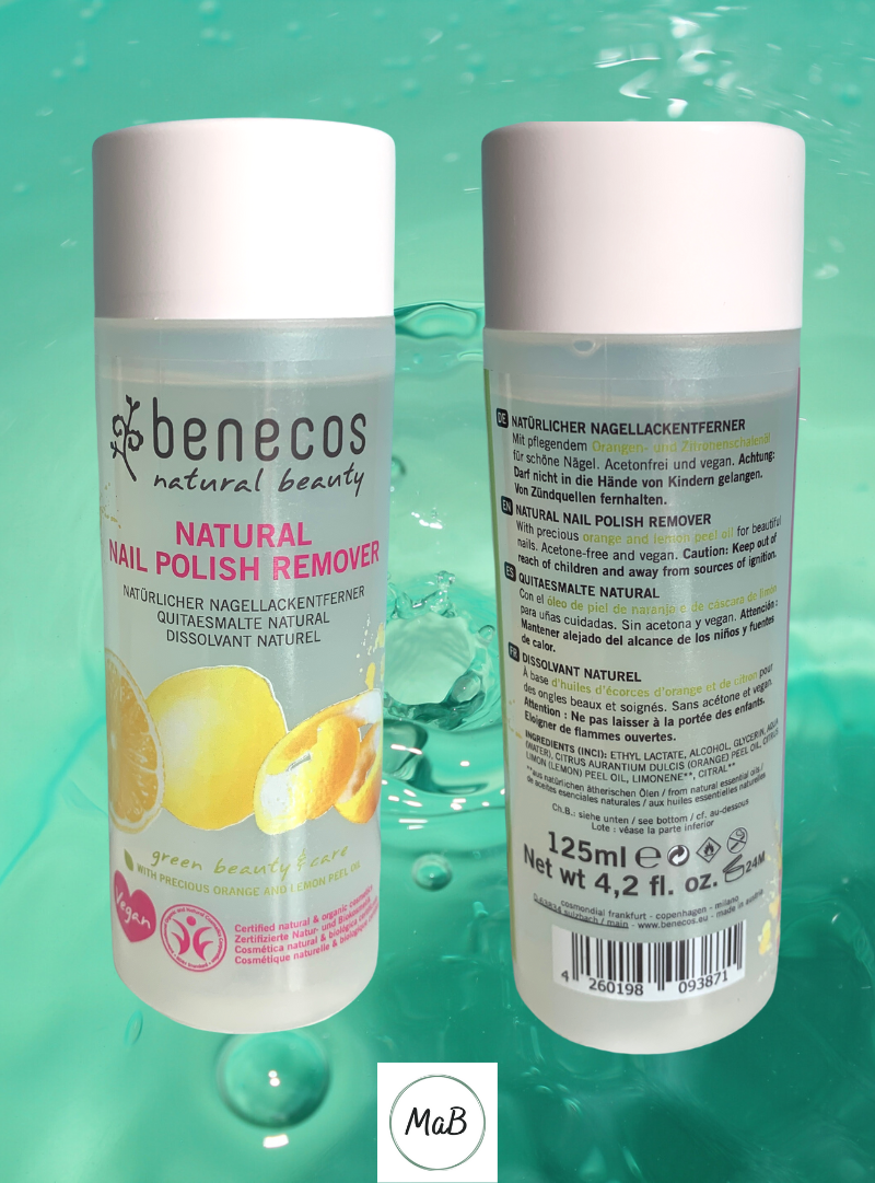 Photo showing the front and back of a bottle of Benecos nail polish remover over a water background
