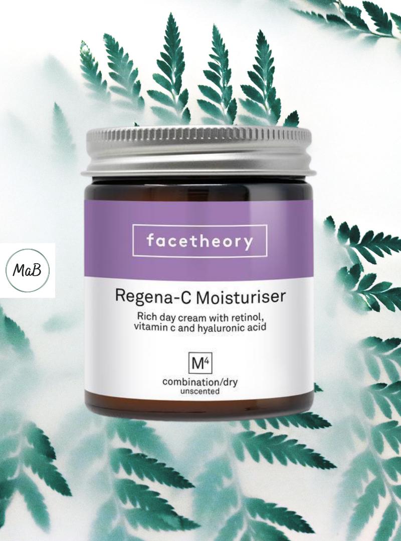 Facetheory moisturiser review - a photo of a jar of Regena-C M4 moisturiser over a natural background.