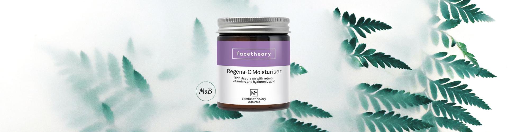 Facetheory moisturiser review - a photograph of a jar of regent-c M4 moisturiser over a natural background.