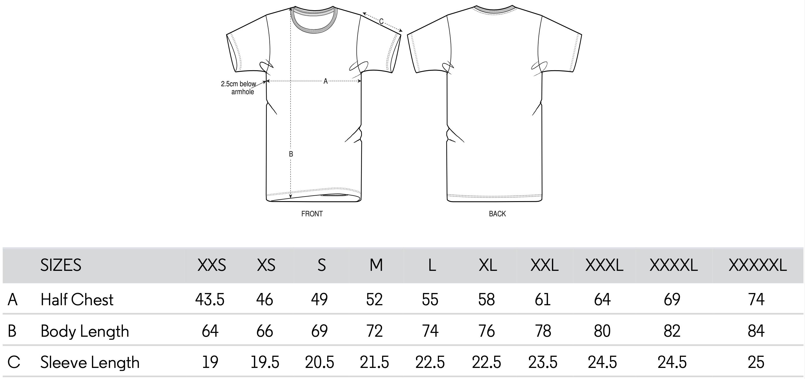 Feminist tshirt size chart