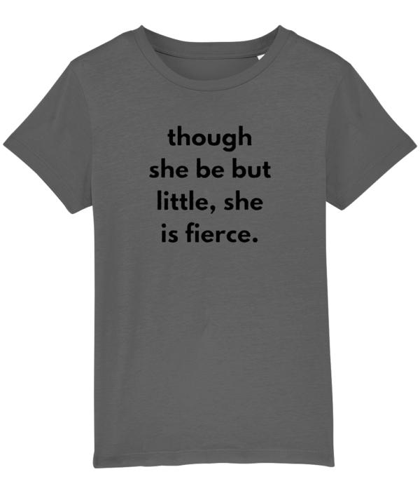 Though she be but little, she is fierce - kids tshirt feminist dark grey