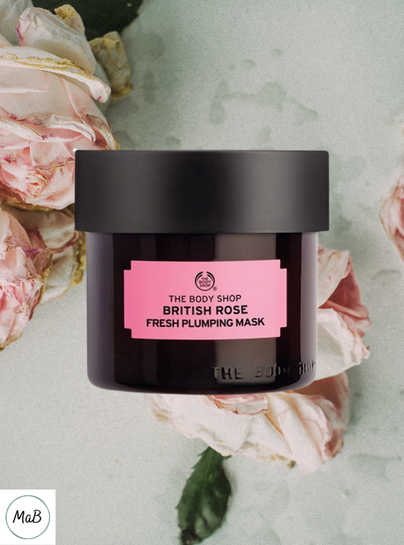 Photograph of a jar of The Body Shop British Rose Facemask for review.